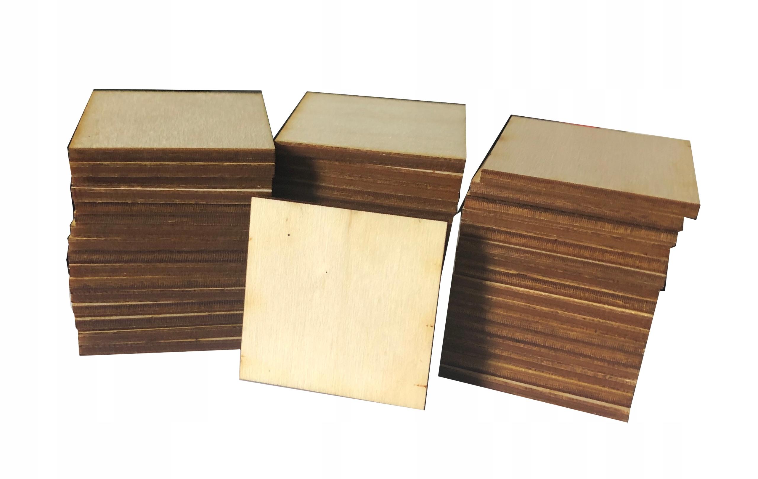 Kwadraciki drewniane, KWADRATY scrapbook 3cm 50szt