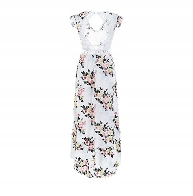 Asymetryczna sukienka w kwiaty boho romantyczna L