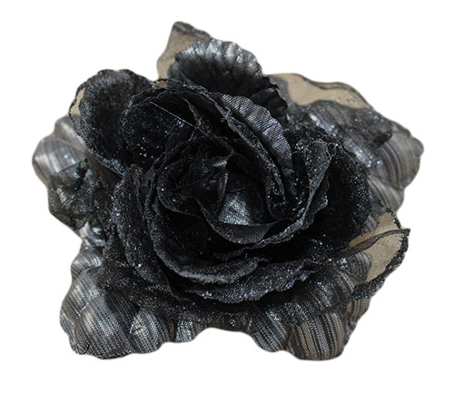 -MARGUT - Заколка Брошь головной убор Цветок Роза черная