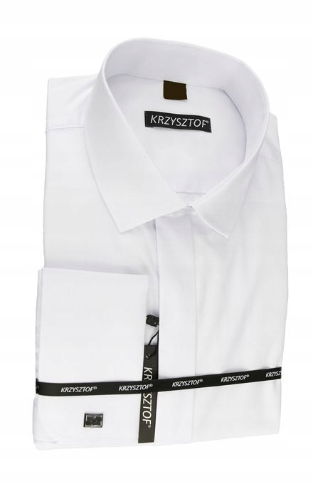 Koszula biała na spinki 50 182/188 dł. WZ501K