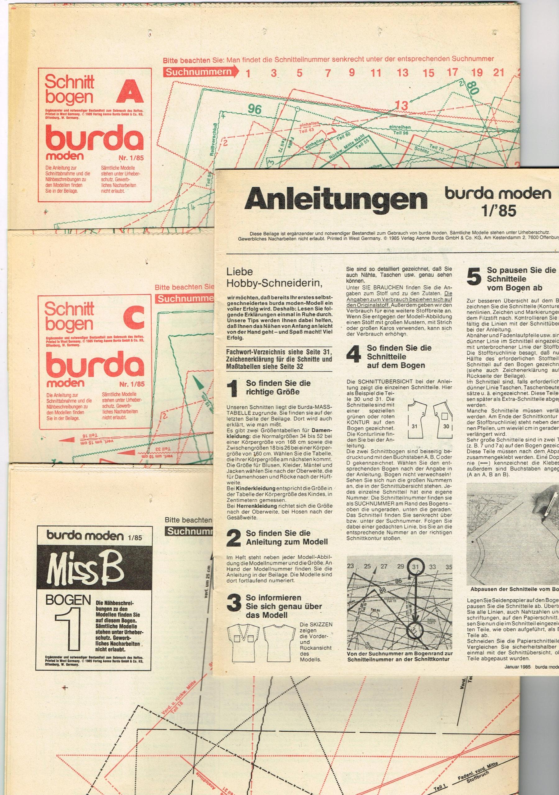 BURDA 1 / 1985 + wykroje