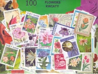 Zestaw 100 znaczków pocztowych - KWIATY