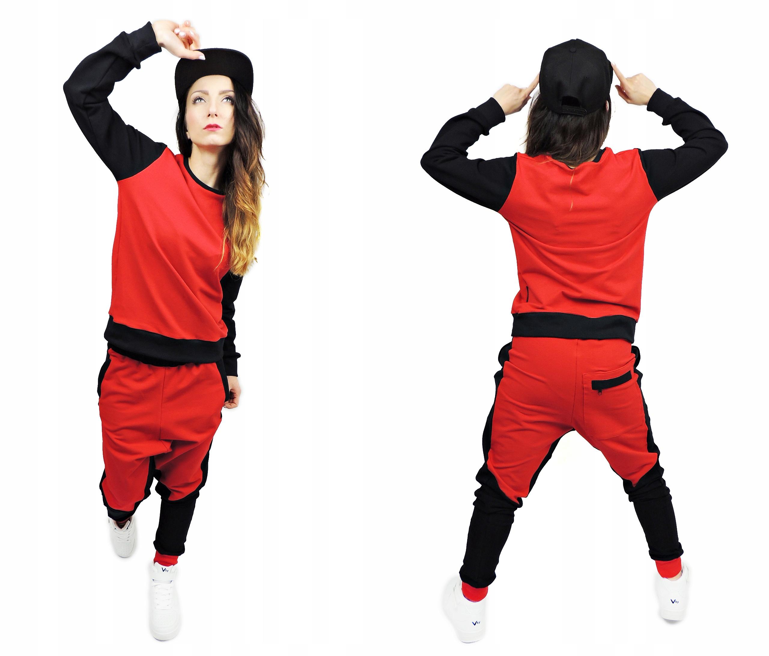 BLUZA XS CZERWONA STREET DANCE TANIEC HIP HOP