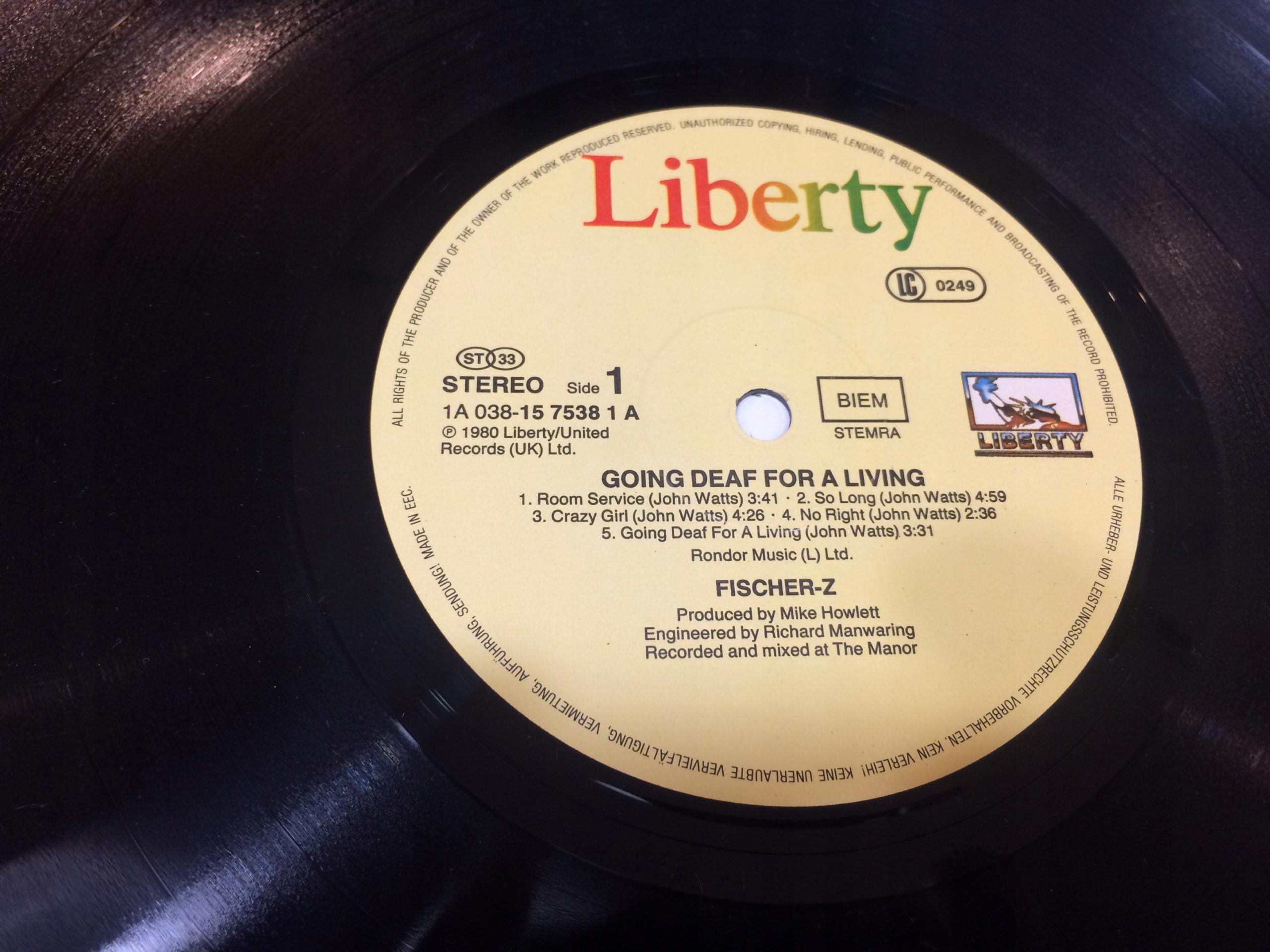 Fischer-Z Going Deaf For A Living ///HOL. LP 1554