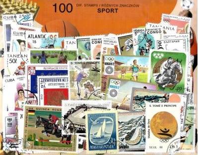 Zestaw 100 znaczków pocztowych - SPORT