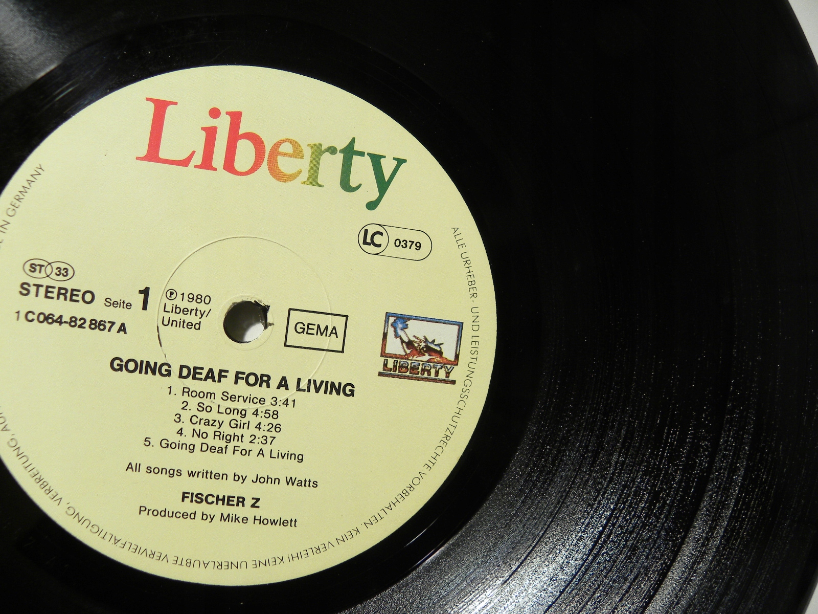 LP FISCHER Z GOING DEAF FOR A LIVING LIBERTY VG-