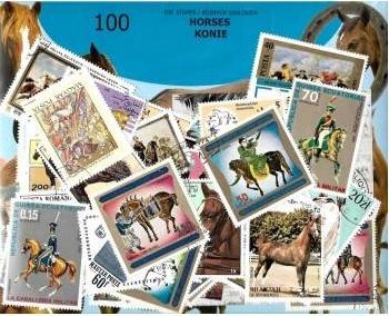 Zestaw 100 znaczków pocztowych - KONIE