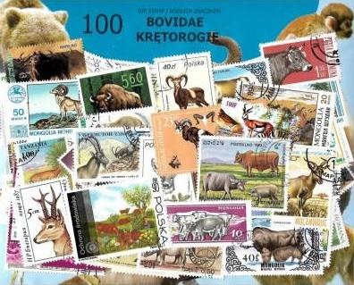 Zestaw 100 znaczków pocztowych - KRĘTOROGIE