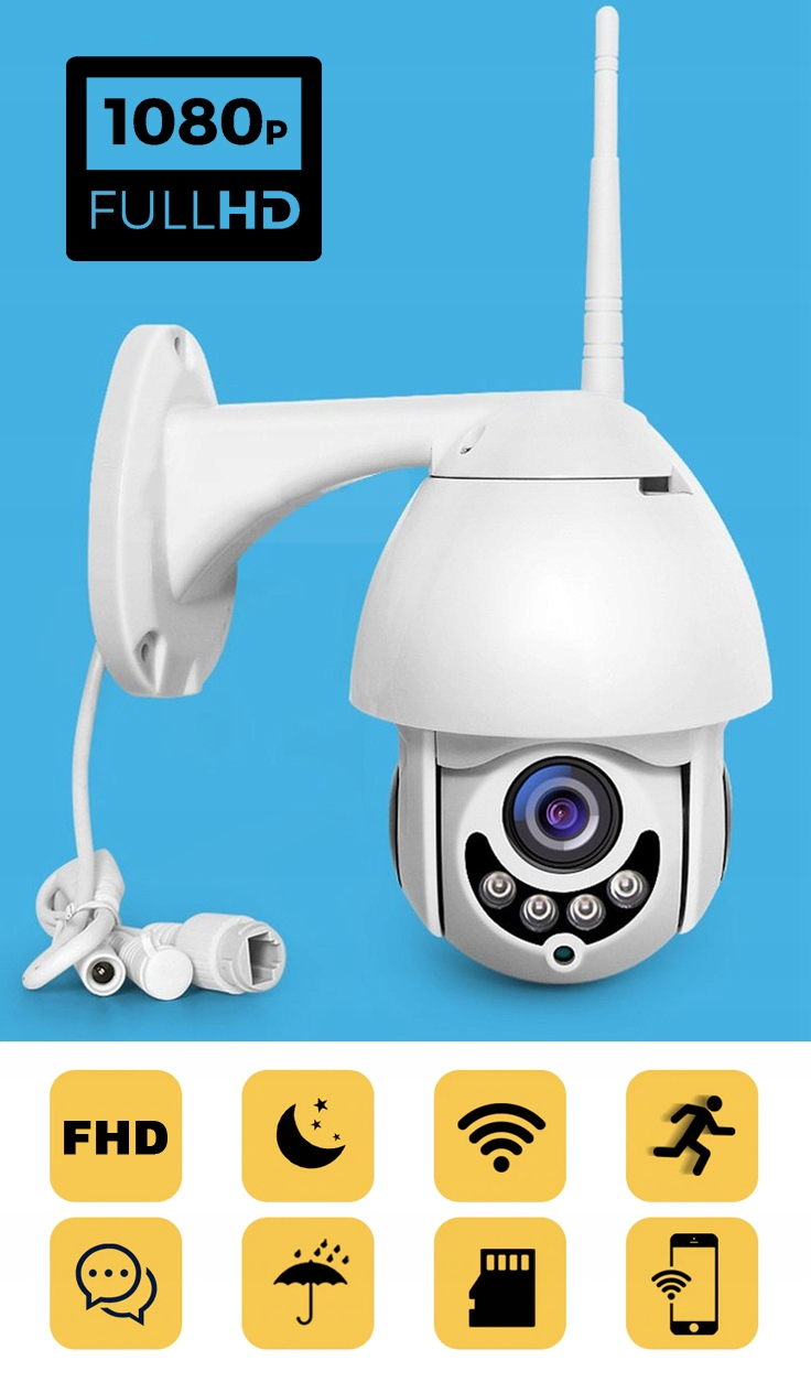 Obrotowa zewnętrzna kamera IP 4X ZOOM P2P FULL HD