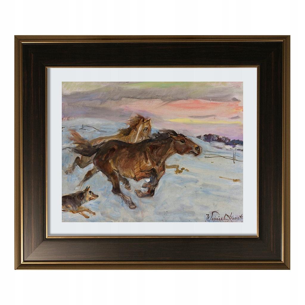 Obraz Wojciech Kossak Ucieczka koni przed wilkiem
