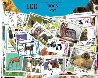 Zestaw 100 znaczków pocztowych - PSY