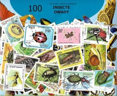 Zestaw 100 znaczków pocztowych - OWADY