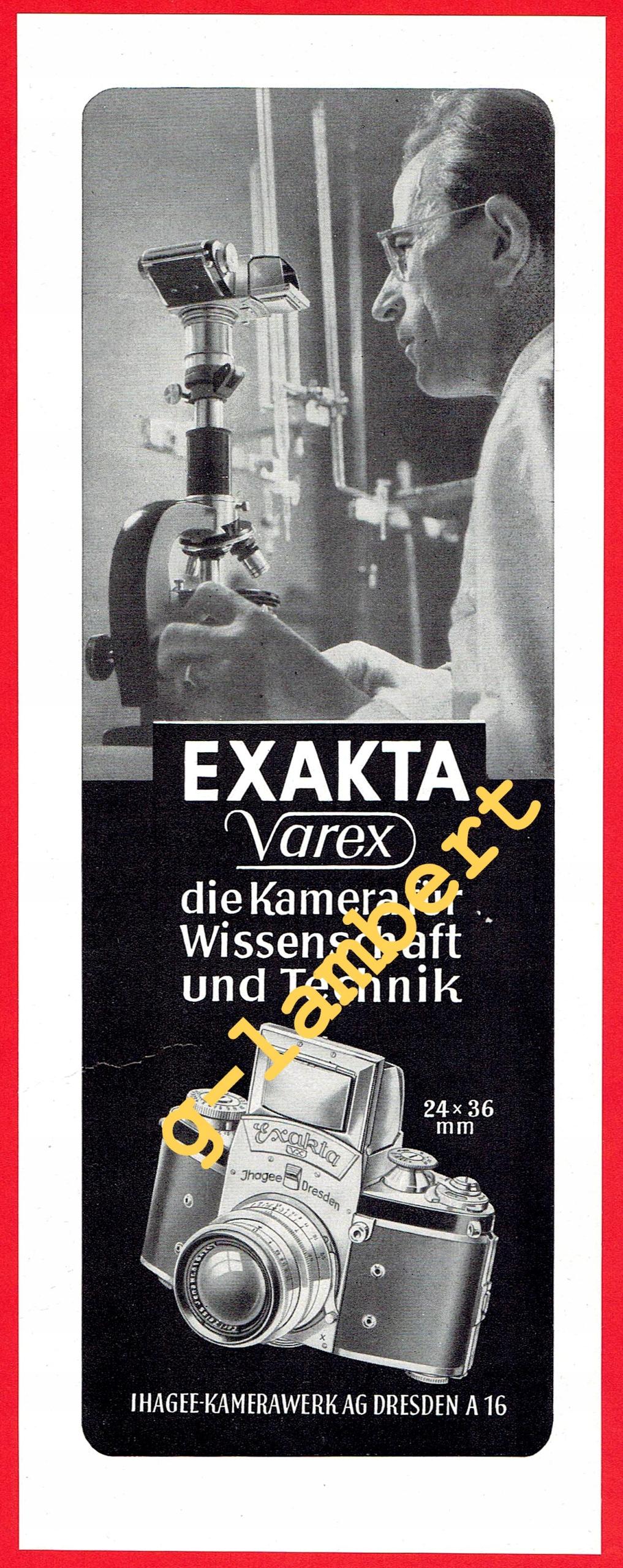 Exakta Varex Ihagee Dresden 1952 - reklama prasowa
