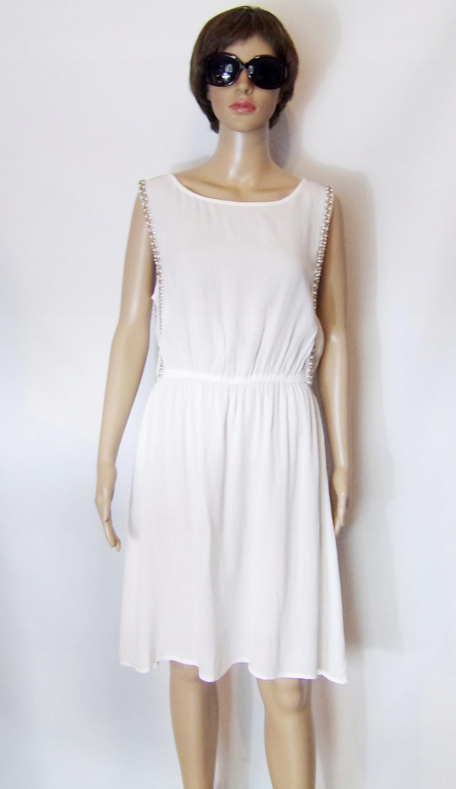 Kappahl biała sukienka perełki kryształki 40/42