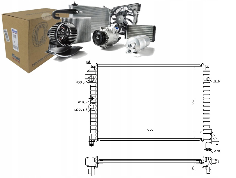 CHŁODNICA WODY VOLVO 460 L 1.7 Turbo (464)