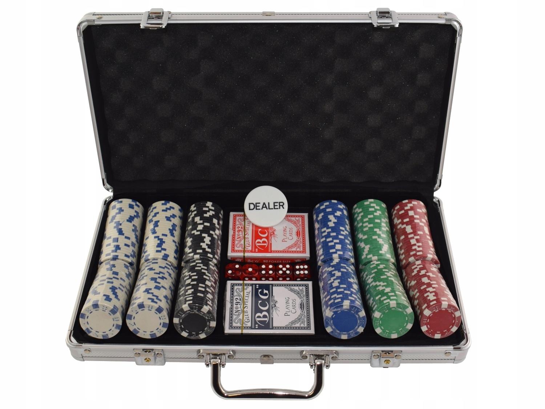 Zestaw 300 żetonów do pokera Dice w walizce