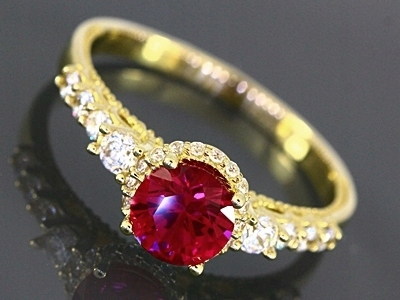 pierścionek złoty 585 rubin R-15 Rokarte
