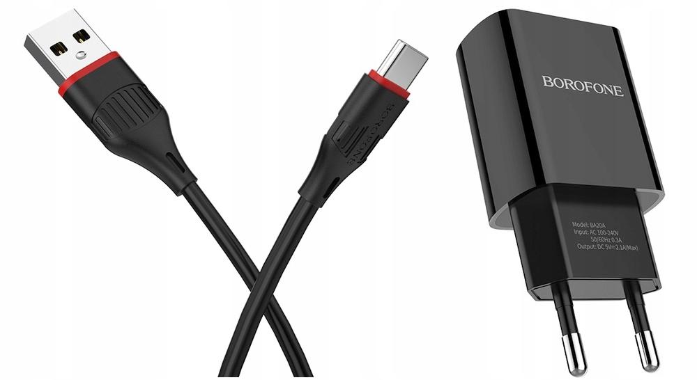 Ładowarka sieciowa szybka z kablem USB typ C 2.1A