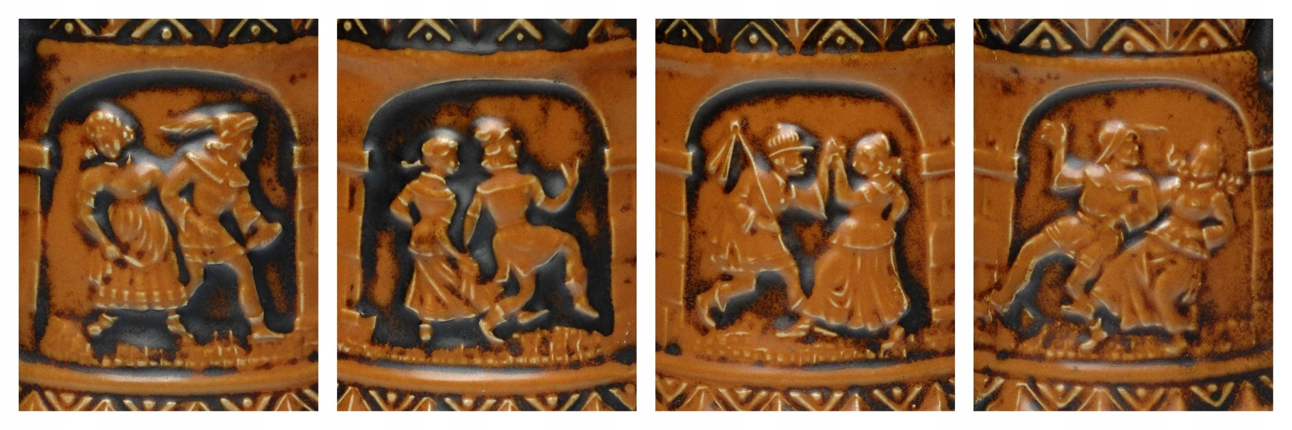 Kufel na piwo ceramiczny ze scenką SYGNATURA ładny