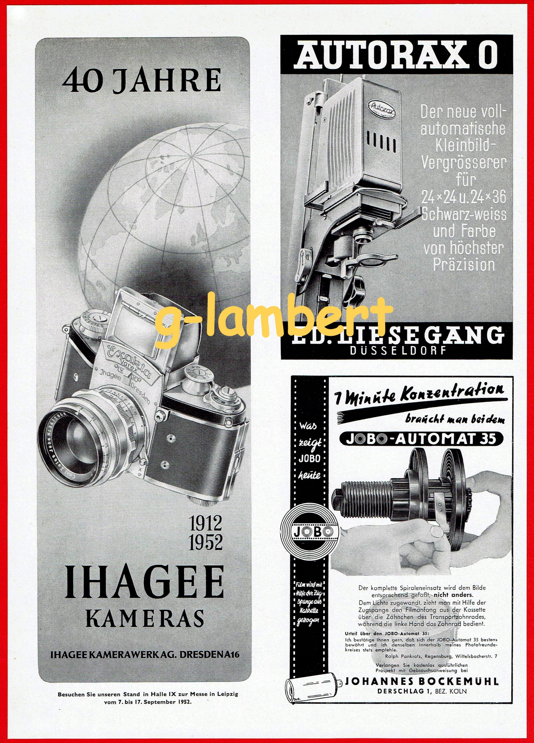 40 Jahre 1912-1952 Ihagee Kameras reklama prasowa