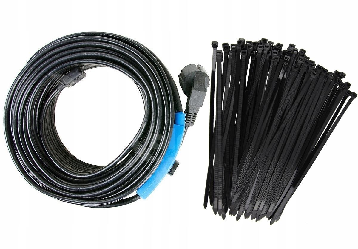 Kabel grzejny 8m 128W Przewód Grzewczy + ZACISKI