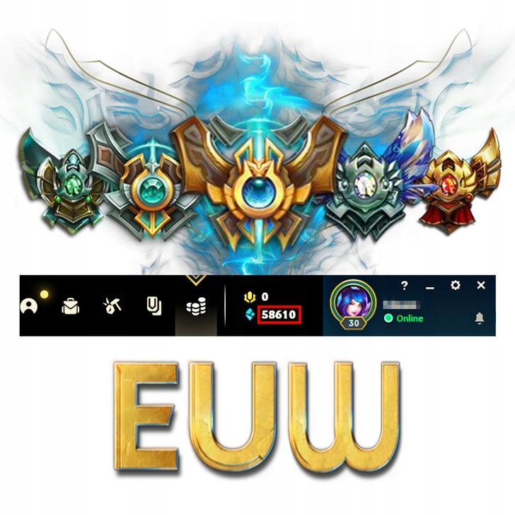 League of Legends KONTO LOL Unranked EUW 50-60k BE