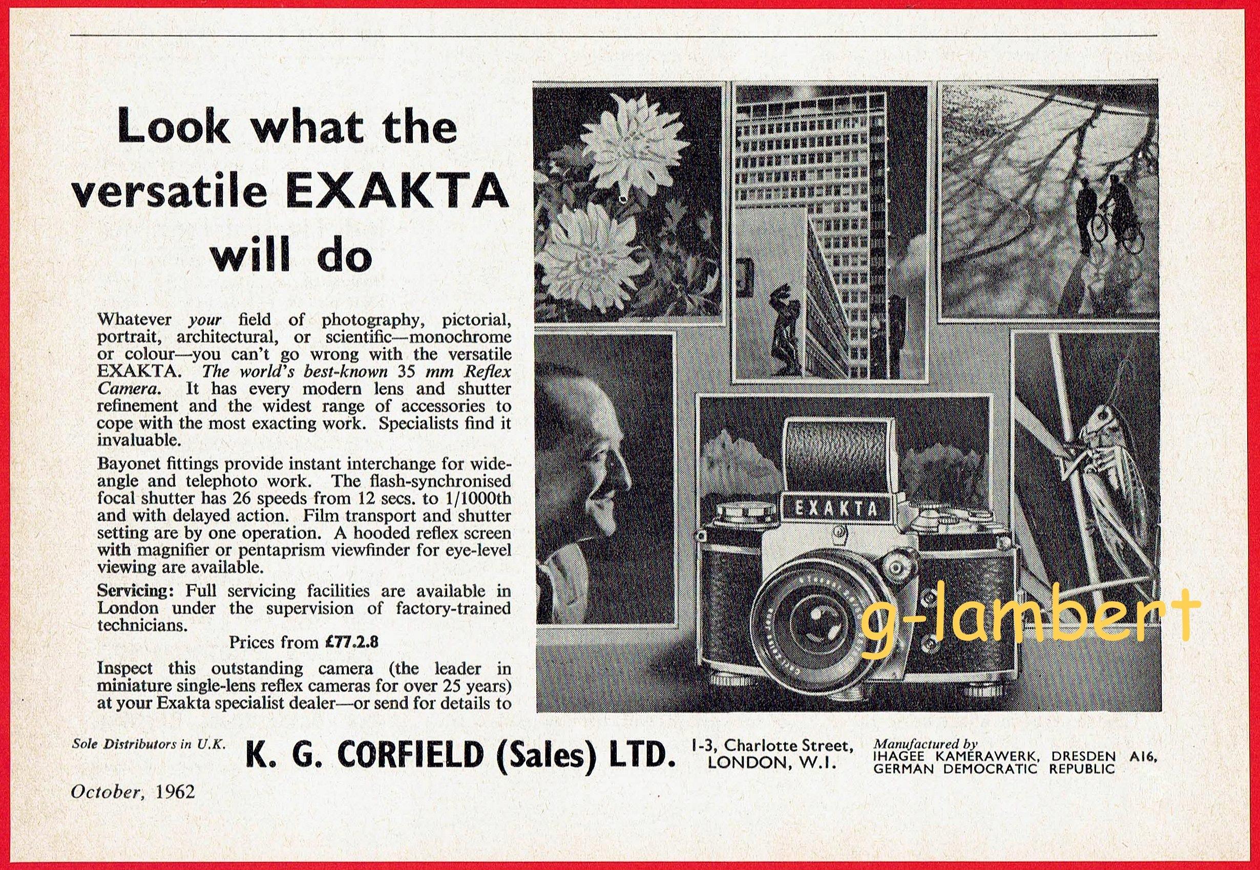 Exakta Ihagee Dresden 1962 rok reklama prasowa