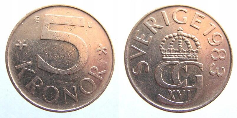 9050. SZWECJA, 5 KORON, 1983.