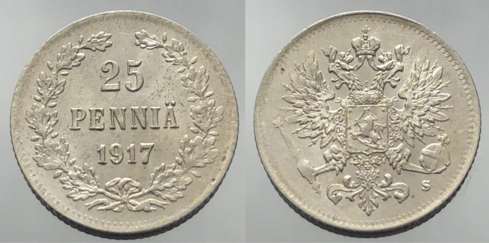 1340.CARSKA FINLANDIA -25 PENNIA- 1917 r.- (Ag)