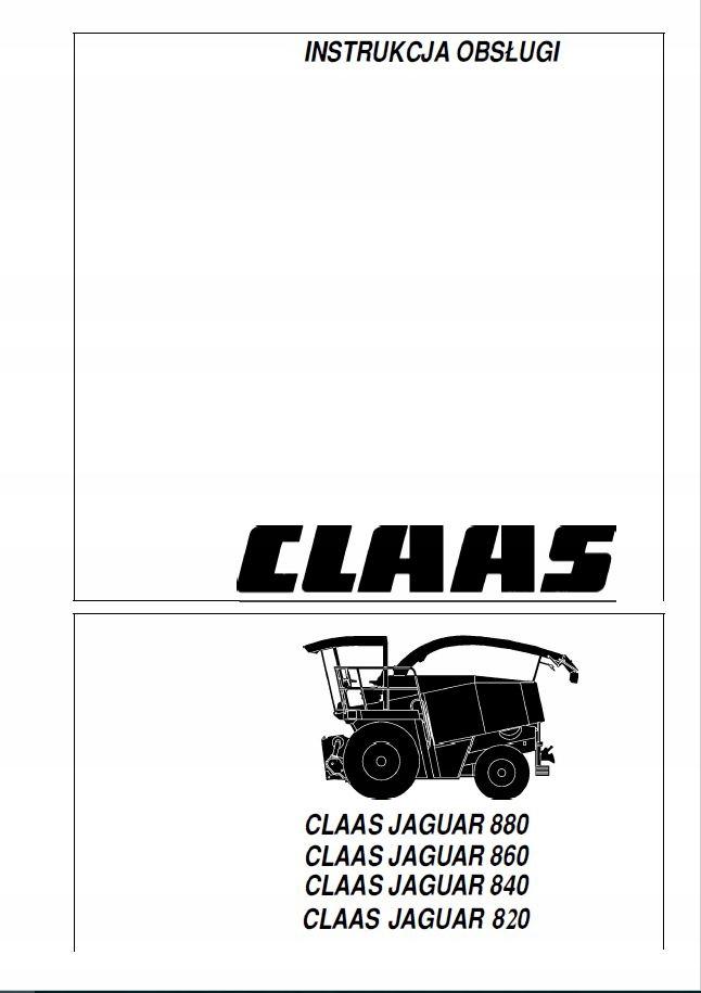 Instrukcja obsł. CLAAS JAGUAR 820 840 860 880