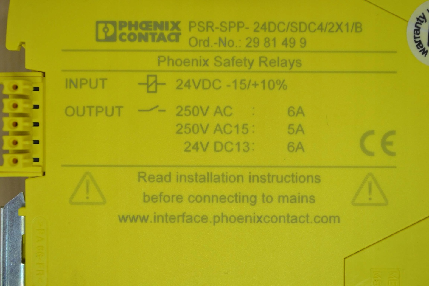 PSR-SCP-24DC//SDC4//2X1//B Phoenix Contact Safety Relay